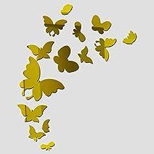 Vinilo espejo de pared mariposas doradas