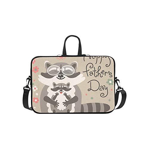 Karte niedlichen Waschbären Vatertag Aktentasche Laptoptasche Messenger Schulter Arbeitstasche Crossbody Handtasche für Geschäftsreisen