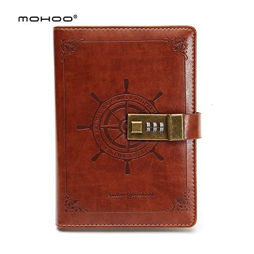 MOHOO Tagebuch Vintage-PU-Leder-Tagebuch Password Notebook, Password Diary Book Notizblock mit Zahlenschloss 112 seiten Vintage Notebook braun Notenbücher-blöcke(Weihnachtsgeschenk)