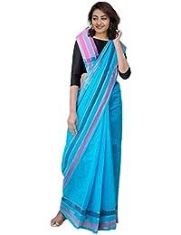 Unnati Silks Women's Mangalagiri Cotton Saree with blouse piece (UNM31457+Blue+Free Size)