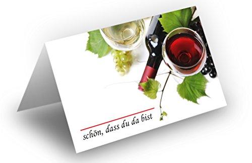 50 Tischkarten (Wein u. Trauben) UV-Lack glänzend - für Hochzeit, Geburtstag, Taufe, Kommunion, Firmung, Jubiläum als liebevolle Tischdekoration!Format 8,5 x 11,2 cm