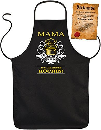 Latz- Kochschürze - Mama ist die beste Köchin! - Mütter Geschenkidee zum Geburtstag... - 100% Baumwolle one Size in schwarz mit kostenloser Geschenk-Urkunde : ) (Mutter Baumwolle)