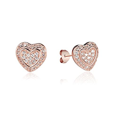 Rose Gold / Silver-Tone Color 925 Sterling Silver Heart Shaped Embossed Double Hearts Pattern Cubic Zirconia Inlay Earrings