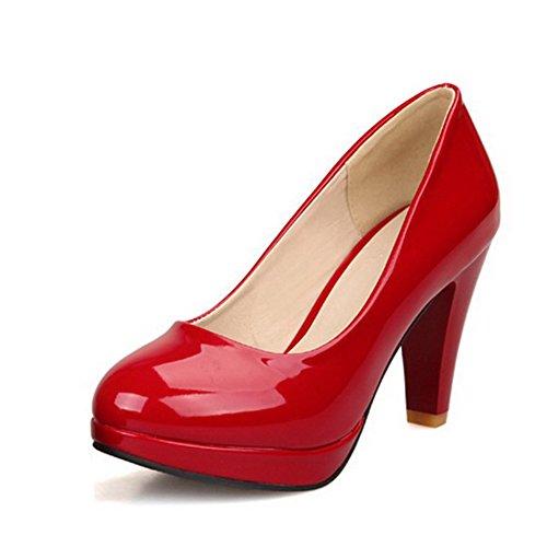 BalaMasa Damen Ziehen Auf High Heels massivem Pumpen Schuhe, Rot - rot - Größe: 40 (Verkauf Für Glas-slipper)