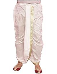 Larwa Men's Silk Solid Dhoti (White, Free Size)