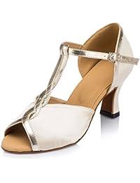 misu - Zapatillas de danza para mujer Dorado dorado, color Rojo, talla 40 2/3