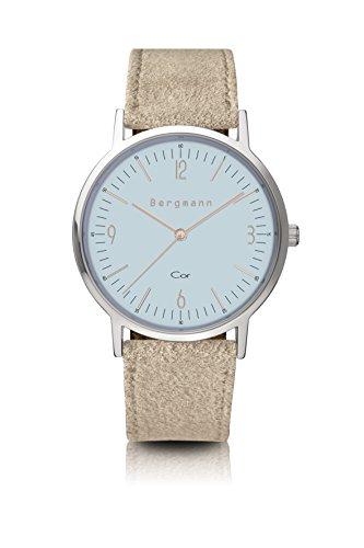 Original Bergmann Uhr Cor Blau Wildleder Quarz Leder Quarzuhr Edelstahlboden Bauhaus Modisch Elegant...