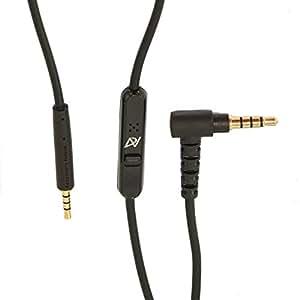 Version améliorée 2.0 ‒ Câble télécommande/microphone Hybride Apple et Samsung Android pour casque Bose Quiet Comfort 25 (QC25), supra-aural 2 (On-Ear 2-OE2) et SoundTrue Circum-Aural 1 / 2 (Around-Ear 1-2 AE) et SoundTrue Supra- aural (On-Ear OE) casques