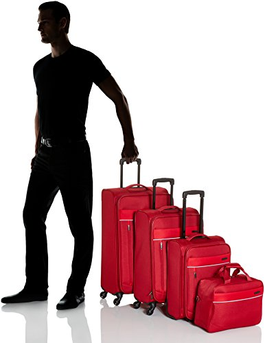 41aMRbv hSL - Travelite DELTA Kofferset, 4 teilig, 4-Rad L/M, 2-Rad S, Bordtasche, Rot, 89240-10 Juego de maletas, 78 cm, 235 liters, Rojo (Rot)