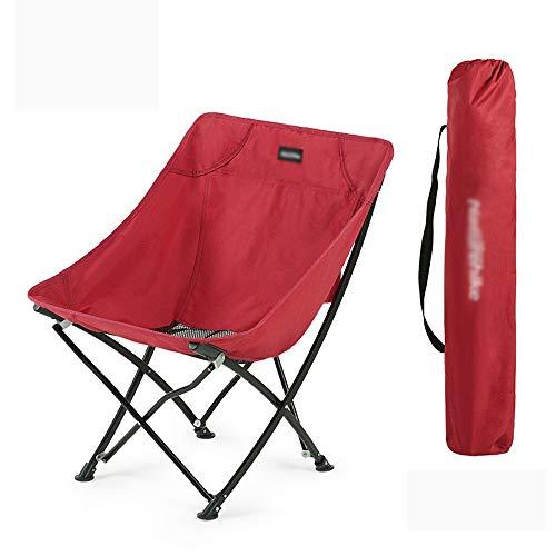 XUMINGZDY Outdoor klappstuhl tragbare einfache Mazar Strand Camping hocker Camping klappstuhl Hause mond Stuhl Angeln hocker ausrüstung Wohnzimmer (Farbe : Rot)