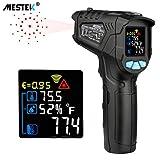 Thermomètre infrarouge Temperature Laser MESTEK Sans Contact Pistolet Temperature LCD -58°F~1022°F(-50°C~550°C) Réglable Alarme d'émissivité Affichage Max/Tenue Maison Industrie Cuisine