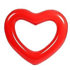 Idea Regalo - Pioneer Clan, salvagente gonfiabile e forma di cuore, per adulti, bambini, feste in piscina, Rosso, 35.43 pollice