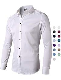 Camisa Bambú Fibra Hombre, Manga Larga, Slim Fit, Camisa Elástica Casual/Formal