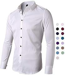 Idea Regalo - Harrms Camicia Elastica di Bambù Fibra per Uomo, Slim Fit, Manica Lunga Casual/Formale, Bianco, Taglia 40