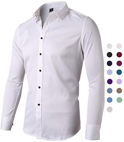 Harrms camicia elastica di bambù fibra per uomo, slim fit, manica lunga casual/formale, bianco, 43 (collo 43cm, petto 116cm)