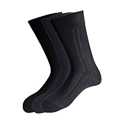 Peter England Mens Socks (Pack of 3) (PXT1950_Navy,Black and Dark Grey_25/37cm)