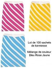 100 SAC KERMESSE EMBALLAGE PAPIER ROSE BLEU JAUNE 20 X 23 CM