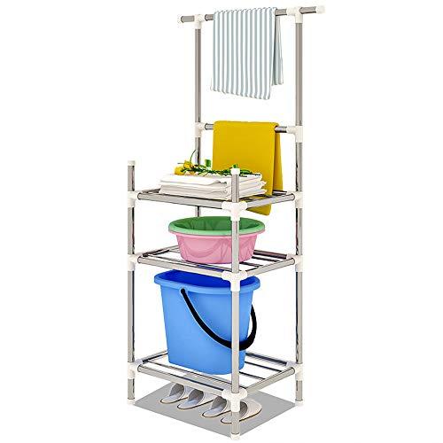 YUSDP Badablage, Handtuchablage mit unterer Etage, freistehende 3-stöckige Toilettenablage - Robustes Metallrohr, 70 kg tragend, rostfreie Oberfläche - 3-tier Bathroom Regal