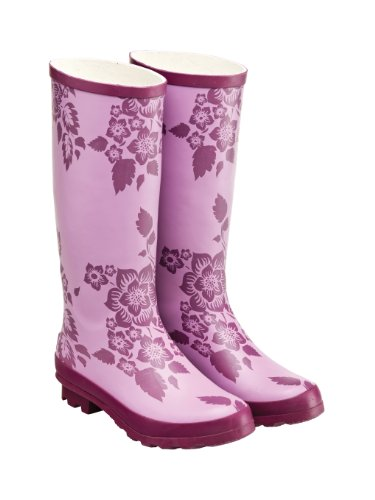 Tottie Damen Gummistiefel, Blumenmuster Violett - lavendel