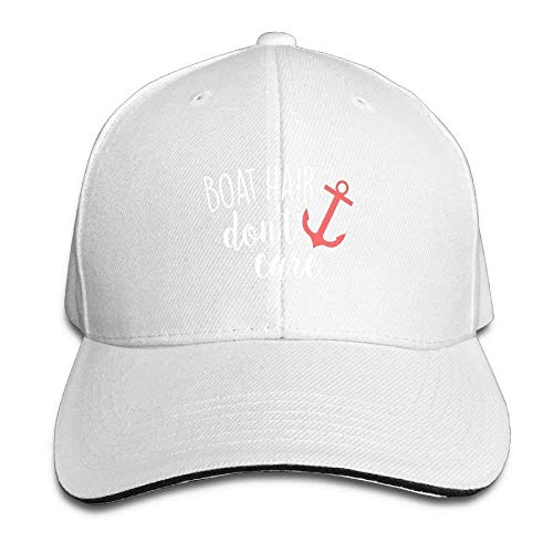 Unisex Dyed Cotton Adjustable Plain Baseball Cap Boat Hair Don't Care Trucker Hat White 11x11x5.5 Inch -