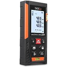 Tacklife HD 60m Telémetro láser con rango distancia de medida 0,05 ~ 60m /±1,5mm, pantalla retroiluminada LCD con 2burbujas de nivel Medidor Láser con función silencio y rápida medición