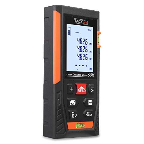 Laser Entfernungsmesser Distanzmessgerät Messbreich 0.05~60m/±2mm mit 2 Level Blasen Messeinheit m/in/ft mit LCD Hintergrundbeleuchtung, IP54 Staub und Spritzwasserschutz - TACKLIFE HD-60