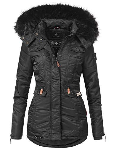 Navahoo Damen Winter-Jacke Winter-Mantel Steppmantel Schätzchen Schwarz Gr. M (Jacke Mantel Gesteppte)