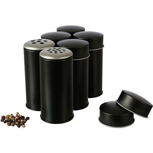 Dosenritter 6 x runde Gewürzstreuer aus Metall für je 50g Gewürzpulver | mit 6 Streueinsätzen in 2 Streugrößen | 8.5 x 4.5 cm (H,ø)