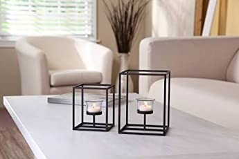 FireFlies Square Frame Powder Coated Iron T Light Holder with Clear Glass for Decoration(Black) - Set of 2