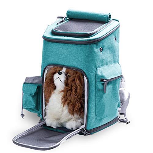 OSPet Hunderucksack Haustier Katze Tragetasche Stoff Schulterriemen Haustier Rucksack für Kleine Hunde und Katzen, 28*28*43cm, bis 8kg