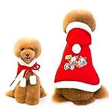 Queta Disfraz de Papá Noel de Navidad para Mascotas Gatos y Perros pequeños, Disfraz de Vacaciones, Lleno de Ambiente Festivo según Imagen S