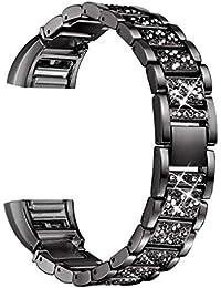 fgyhty Kit de reparación Stainlees Steep Soild del Reloj de la Correa de Diamantes de imitación Banda de Reloj del reemplazo para Fitbit Carga 2