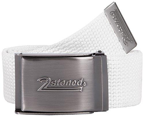 2Stoned Tresor-Gürtel Geldgürtel Weiß 4 cm breit matte Schnalle Speed, Safe Belt für Damen und - Geld-gürtel Für Männer