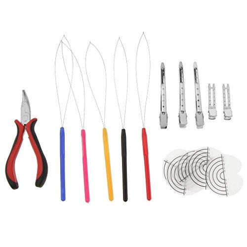 Homyl Haarverlängerung Zange Microring Nadel Extension Schablone und Haarklammern geeignet für Haar und Feder Verlängerung
