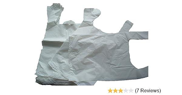 100 x Strong Medium White Plastic Vest Carrier Bags 10x15x18 *FREE P/&P!*