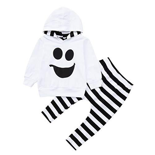 Yanhoo-Kinder Kindermode Herbst Winter Baby Jungen Mädchen Bekleidungsset Langarm Halloween Cartoon Geist Smiley Gesicht mit Kapuze Bluse + Gestreiften Hosen Zweiteilige Anzug