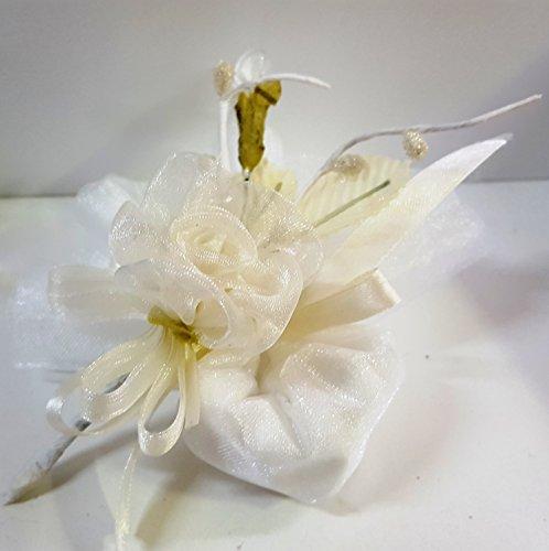 Set 10 pezzi bomboniera sacchettino portaconfetti , segnaposto con fiore e bigliettini. (leo898bis) (panna)