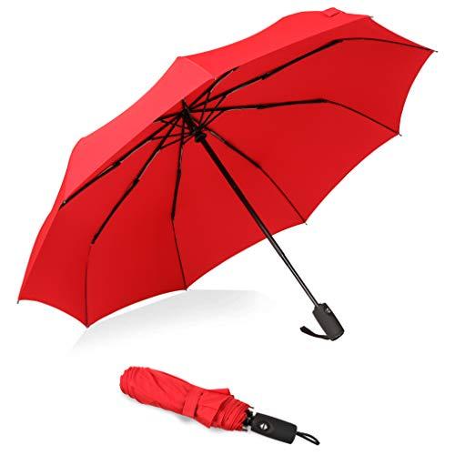 Amazon Marke: Eono Essentials Kompakter Reiseregenschirm Robuster, windfester Regenschirm mit Teflonbeschichtung - Verstärktes Dach, Ergonomischer Griff, Automatisches Öffnen/Schließen Rot -