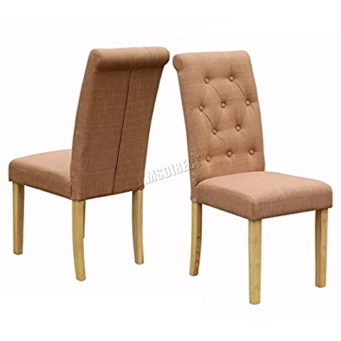 FoxHunter Furniture Set of 2 Premium Brown Linen Fabric Dining Chairs Roll Top Scroll High Back with Solid Wood Legs Seat Contemporary Modern Look DCF02 Living Room Lounge Office