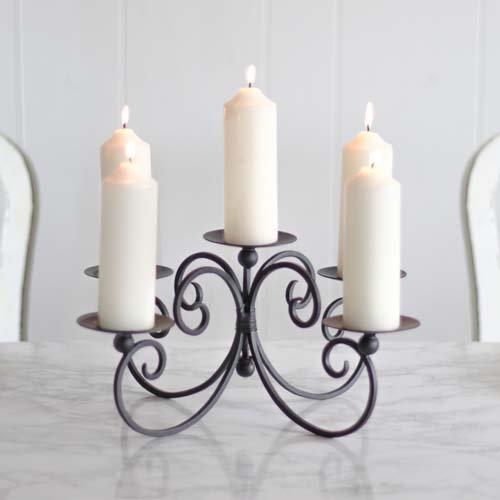 Cinq pilier Chandelier, Porte-Bougie, parfait pour centre de table, 31x 30cm, cadeau pour anniversaire ou New Home