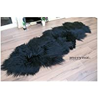 Meryno Icelandic Sheepskin Double Rug Genuine Black - Black, x large