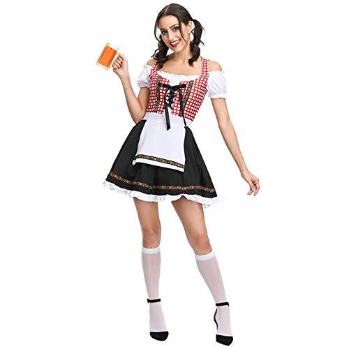 Frauen Dirndl Oktoberfest Kostüm Deutsche Uniformen Bayer Heidi Bier Mädchen Karneval Party Kostüm@XL
