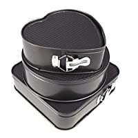 Set of Three Springform Pans Cake Bake Mould Mold Bakeware with Removable Bottom Round Heart Square Shape Versatile Sturdy