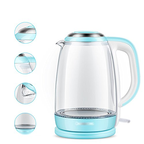 Electric Kettles YANFEI Household 220V Blue 1.8L 1500W Automatic Power-off 304 Glass Kettle quick boiling