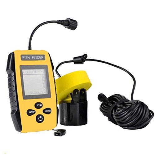 jiele Fisch-Finder & #-; tragbar Sonar Fish Finder mit Angeln Sonar Sensor Kabelgebundene LCD-Display Sonar Sensor Alarm Transducer 328ft Wasser Tiefe & Temperatur Finder Lowrance-temperatur-sensor