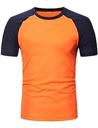 Camiseta para Hombre, Camiseta de Manga Corta con Cuello en Ochos y Patchwork Casual para Hombre