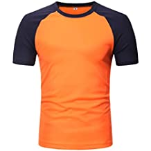 Camiseta para Hombre, Camiseta de Manga Corta con Cuello en Ochos y Patchwork Casual para