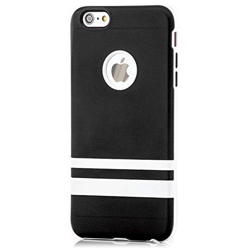 Saxonia Apple iPhone 6 Plus / 6S Plus Hülle Silikon Case Schutzhülle mit weißem Rahmen Rosa Schwarz