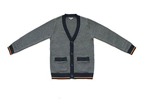 Bienzoe Große Jungs Schuluniformen Baumwolle Antistatisch V-Ausschnitt Strickjacke Dunkelgrau Größe 7