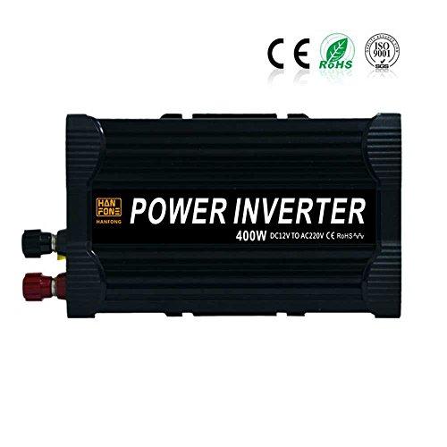 CHANG Auto-Inverter, 12V300W/400W Modifizierter Sinus-Inverter, Energie-Konverter, Voller Energie-Inverter, Schwarz,400W,12V (400w Mobile Inverter)